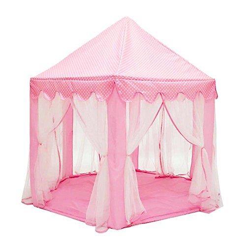 Crewell Tienda de campaña para niños, portátil, para interiores y exteriores, casa de juegos de princesa, castillo de Hexagon