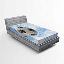 Lunarable Sports Fitted Sheet, Soccer Ball Goal with Cloudy Sky Summertime Outdoor Activities Sporting, Soft Decorative Fabric Bedding All-Round Elastic Pocket, Twin Size, Blue White