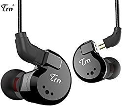 TRN V80 HiFi Earphone 2 Dynamic & 2 Balanced Armature Driver Stereo Bass IEM, Metal in Ear Headphone, Stage/Studio in Ear Monitor with Detachable 2 Pin Cable (Black No Mic)