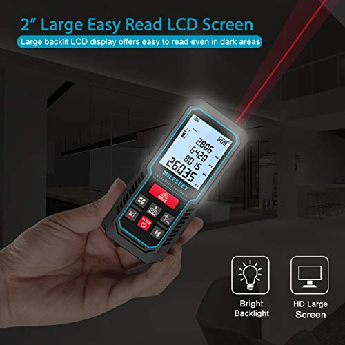 MiLESEEY Laser Measure, 229ft M/In/Ft Digital Distance Meter, Laser Measurement Tool with Electronic Angle Sensor, Backlit LCD, Pythagorean Mode, Measuring Distance, Area and Volume