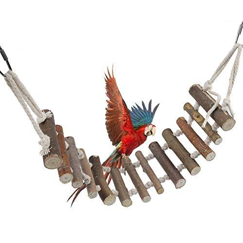 Smandy Vögel Spielzeug Holzleiter Hölzerne Strickleiter mit Seil Swing Bridge für Wellensittiche Sittiche Papageien Pet Training Spielzeug