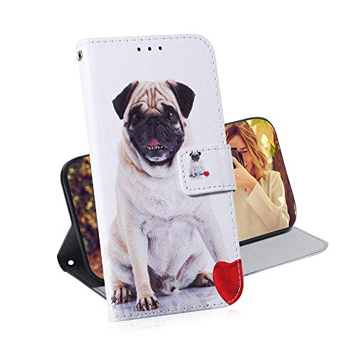 Asdsinfor Galaxy A01 Case Full Stylish Advanced Colorful Painted Wallet Case Credit Cards Slot with Stand for PU Leather Shockproof Flip Magnetic Case for Samsung Galaxy A01 Pug TX-CH