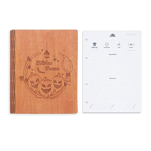 Wooden Blank Recipe Book to write in (8.5 x 6.7 inch) - Cook Book with 80 sheets for handwritten recipes - Bundle with Set of 80 Sheets of A5 Blank Recipe Pages