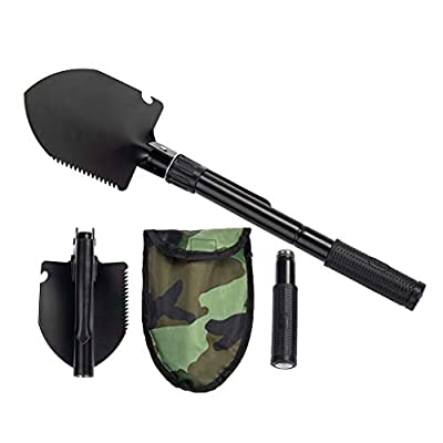 Jipemtra Gardening Folding Shovel Military Camping Shovel Survival Gear Entrenching Tool with Carrying Pouch Metal Handle for Camping Trekking Gardening Fishing Backpacking Snow (Black)