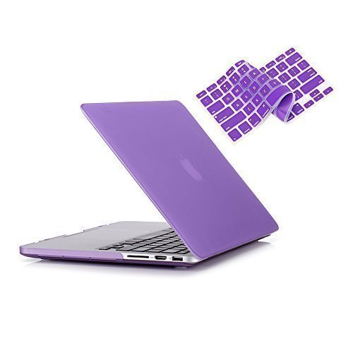 RUBAN Case Compatible with MacBook Pro 15 inch (2015-2012) Release A1398, Plastic Hard Case Shell with Keyboard Cover for Old Version MacBook Pro Retina 15 Inch, Purple