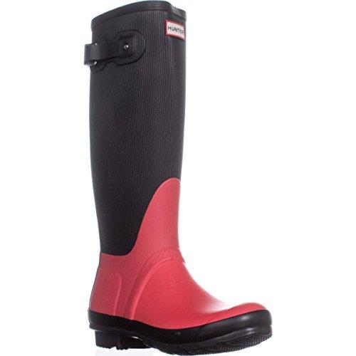 HUNTER Original Ribbed Leg Rubber Rain Boot (8, Bright Coral)