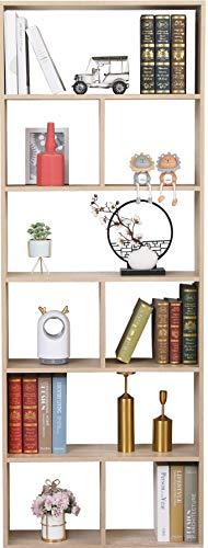 Etnicart Libreria scaffale Rovere a Vista Disegno Contemporaneo Ufficio casa Soggiorno in Legno MDF a Giorno - 70 X 23.5 X 190cm. 60Kg carico autoportante con divisori-