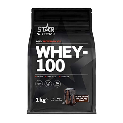 Star Nutrition | Whey 100 | Pure Isolated Diet Whey Protein Powder with High Protein & No Added Sugar | Protein Powders for Perfect Protein Shakes | Double Rich Chocolate Flavor | 1Kg