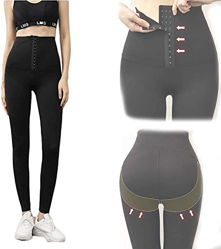 LU1999 Women Stretchy High Waist Corset Body, Shaper Waist Skinny Pants Fitness Leggings,Sexy Corset Stylish Yoga Button Fitness Leggings (Thermal, M)