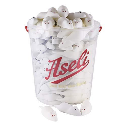 1.100g Weisse und graue Riesenmäuse | Aseli | Mäusespeck | Schaumzucker-Ware | süße Schaum-Mäuse | Speckmäuse im wiederverschließbarer Box | Schaumzucker-Figuren handgefertigt | glutenfrei | laktosefrei