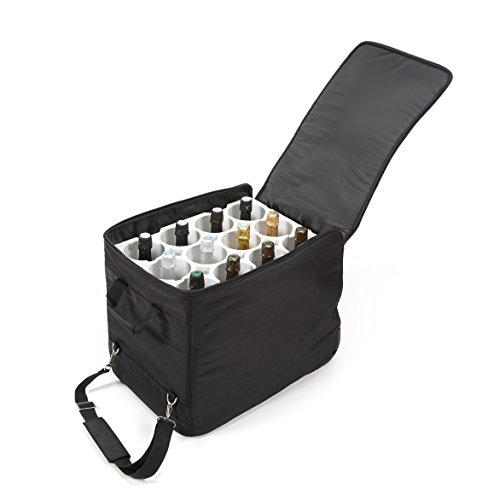 LAZENNE Maleta de Viaje para Vino - Bolsa térmica combinada con una Maleta Ligera de Carcasa Dura - Transporte de Botellas de Vino Conforme a la TSA Bolsa de Picnic y Almuerzo (Negro)