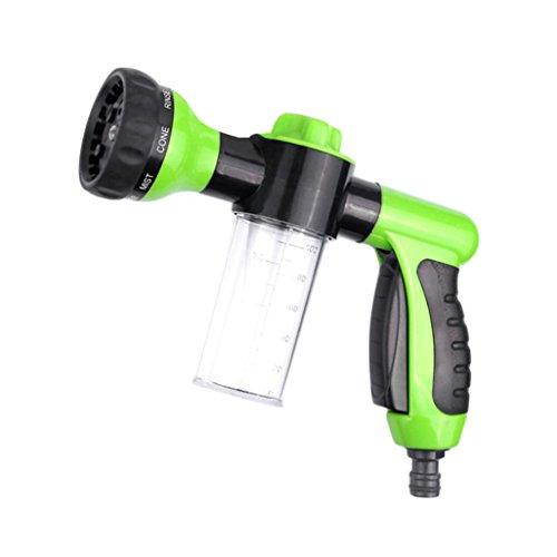 STRIR Pistola de Riego - Boquilla a Pistola Rociadora para Fijar a Manguera de Jardín con Depósito para Jabón/Fertilizante - Pistola para Manguera de Riego (Verde)