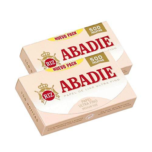 ABADIE 1000 Hojas Papel de Liar Fumar Ultrafinos 77 x 44mm Estándar 1,1/4 Medium Size (500 hojas x 2) Con Goma Arábiga Natural 100% Vegetal, Combustión Lenta, Fabricado en España