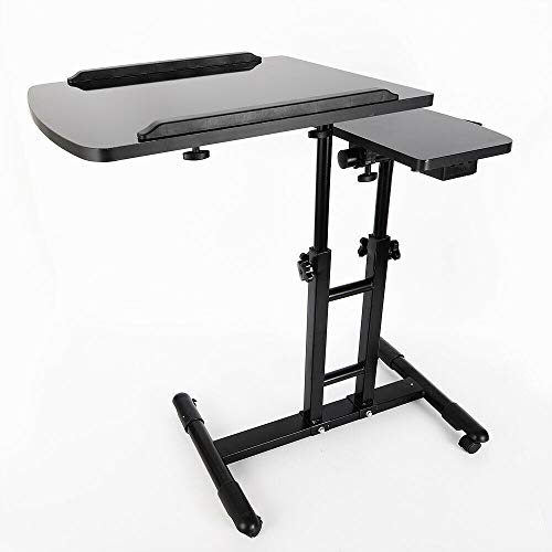 DENESTUS Double Countertops Portable Large Mobile Tattoo Work Station Stand Tattoo Lifiting Work Desk with Wheels Table Adjustable