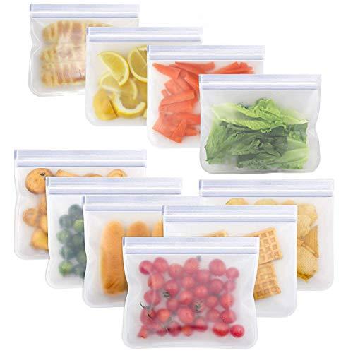 Salandens Bolsas de almacenamiento reutilizables,paquete de 10 bolsas de congelador a prueba de fugas (5 bolsas de sándwich reutilizables y 5 bolsas de refrigerios reutilizables) - Bolsa de almuerzo reutilizable para almacenamiento de alimentos Organización del hogar Ecológico