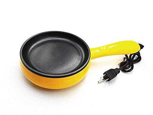 BULUSHI Cuisine 6-Inch Non-Stick Electric Skillet, Yellow Mini frying pan