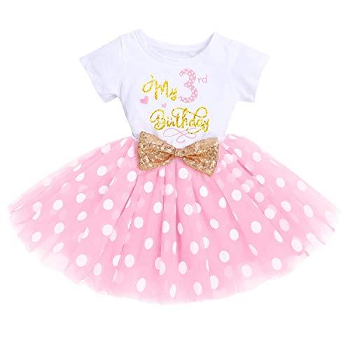 Recién nacido bebé 1/2/3 cumpleaños niña vestido manga corta algodón body Minnie Mouse Polka Dot Tul Princesa Fiesta Cake Smash Baby Set Photo Shooting cumpleaños vestido Rosa 1(3 años) 3 Años