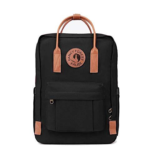 KALIDI Rucksack/Daypack Rucksack Mädchen Jungen & Kinder Damen Herren Schulrucksack mit laptopfach für 15 Zoll Notebook (Schwarz mit Leder)