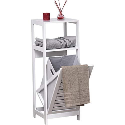 Mueble de madera blanco con cesto para ropa sucia.