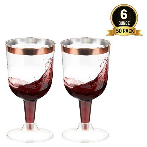 TOROTON 50 Stück Plastik Weingläser, 180ml Wiederverwendbar und Recycelbar Plastikgläser Trinkbecher Ideal für Feiern, Hochzeiten, Picknick - Rose Gold