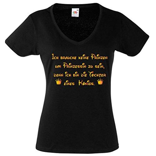 Camiseta de mujer con cuello en V para mujer, sin príncipe para la princesa que es como si fuera una hija Camiseta divertida con frases divertidas y cuello en V negro/dorado M