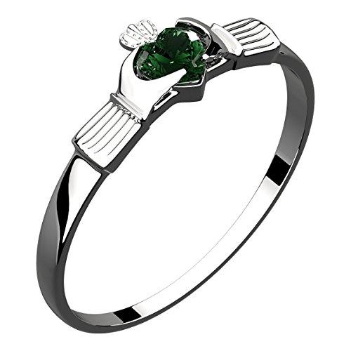 GWG Jewellery Anillos Mujer Regalo Anillo Fino de Claddagh Plata de Ley Dos Manos Que Rodean Corazón de Circonita de Color Esmeralda Verde con Corona - 8 para Mujeres