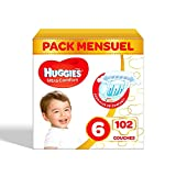 Huggies - Ultra Comfort - Couches Bébé Unisexe - Taille 6 (15-30 kg) x102 Couches - Pack 1 Mois