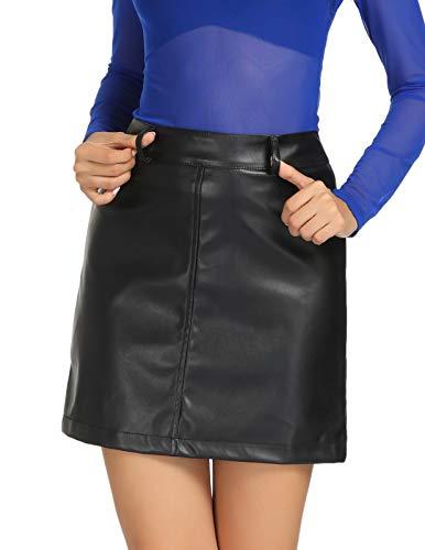 Kate Kasin Women's Leather Skirt Plus Size Faux Leather Body con Mini Skirt(2XL,Black)