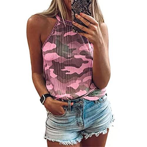 Camiseta Sin Mangas Mujer Tops Mujer Sexy Elegante Moda Camuflaje Impreso Camisetas Sin Mangas Verano Playa Vacaciones Casual Cómoda Mujer Shirt Mujer Blusa E-Pink XL
