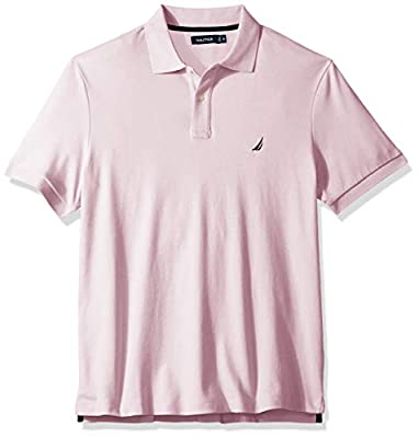 Nautica Men's Classic Fit Short Sleeve Solid Soft Cotton Polo Shirt, Cradle Pink, 3XLT Tall