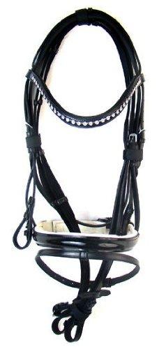 Hochwertige Trense Amber aus Leder Schwarz Neu incl. Zügel, Größe:Vollblut