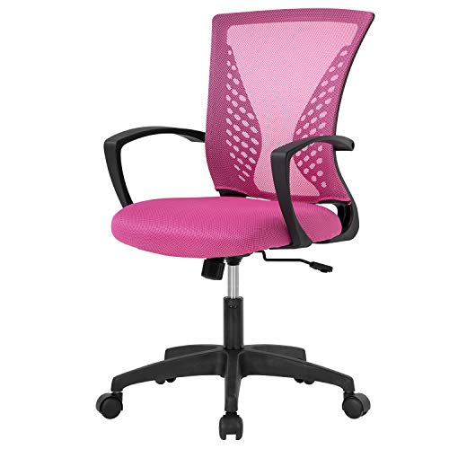 Home Office Chair Mid Back PC Swivel Lumbar Support Adjustable Desk Task Computer Ergonomic Comfortable Mesh Chair with Armrest (Pink)