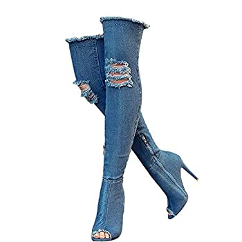 Denim Blue Thigh High Boots for Women Summer peep Toe Stiletto Heels Fashion Jeans Over The Knee Boots