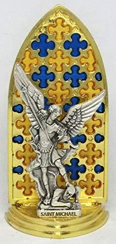 GTBITALY 20.079.21 Vitrina gótica esmaltada a mano oro con tema San Miguel arcángel medida 8,5 cm