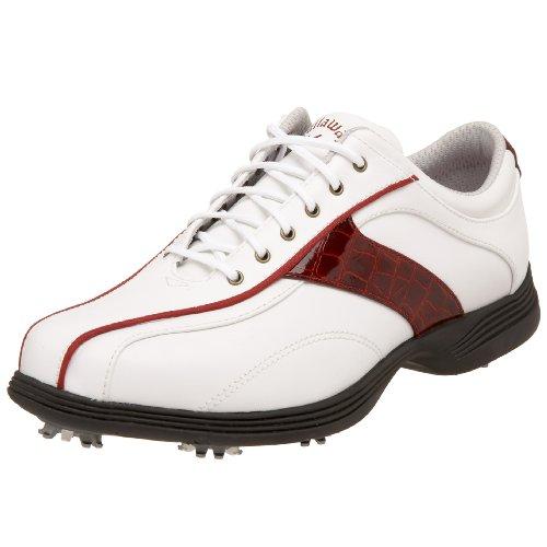Callaway Women's Savory Golf Shoe,White/Candy Apple,7.5 M US