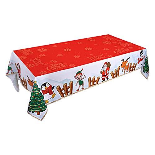 Hemoton - Mantel de Navidad, decorativo, largo, para el hogar, fiesta, invierno (213,36 x 154,4 cm), diseño navideño