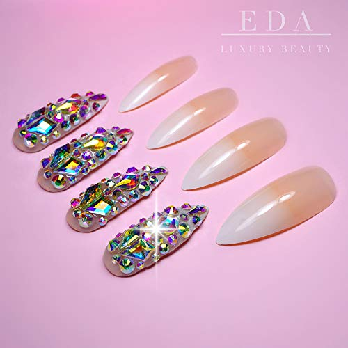 EDA LUXURY BEAUTY NATURAL NUDE OMBRE WHITE FRENCH 3D JEWEL DESIGN Full Cover Press On Nails Acrylic Nail Kit Artificial Tips False Nails Extra Long Round Pointed Almond Stiletto Nail Art Fake Nails