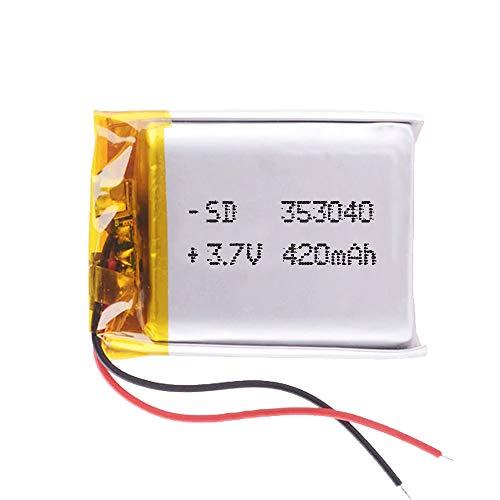 DronePost Batería 353040 LiPo 3.7V 420mAh 1S Recargable teléfono portátil vídeo mp3 mp4 luz led GPS (3.7V|420mAh|353040)