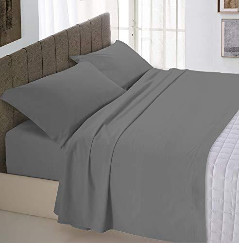Italian Bed Linen Max Color Completo Letto, 100% Cotone, Fumo, Matrimoniale, 2 Posti, 4 unità