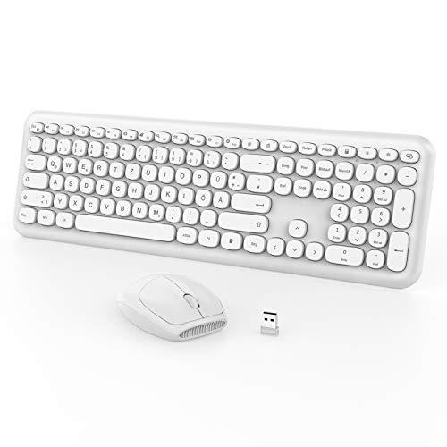 Jelly Comb Tastatur Maus Set, 2.4G kabellose Tastatur und Leise Funkmaus, QWERTZ Deutsches Layout für PC, Laptop, Smart TV, Weiß