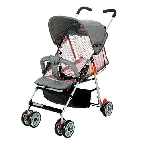Carritos y sillas de Paseo Bebé Cochecito de Verano Malla de Verano Ultraligera El bebé Puede Sentarse Plano Amortiguador de Paraguas Paraguas Bebé Sillas de Paseo (Color : Gris)