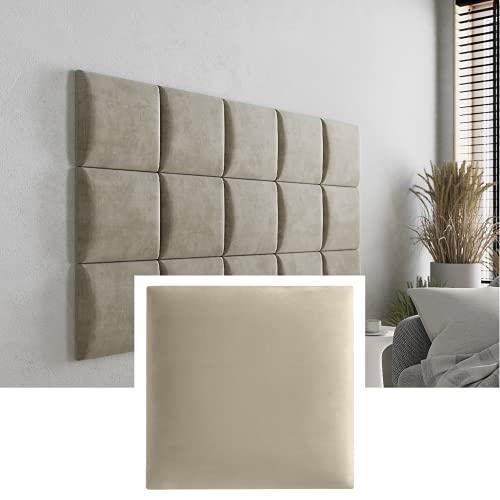 Mocadu Juego de 4 cojines de pared de terciopelo con acolchado de 50 mm, 30 x 30 cm (crema beige RV21)