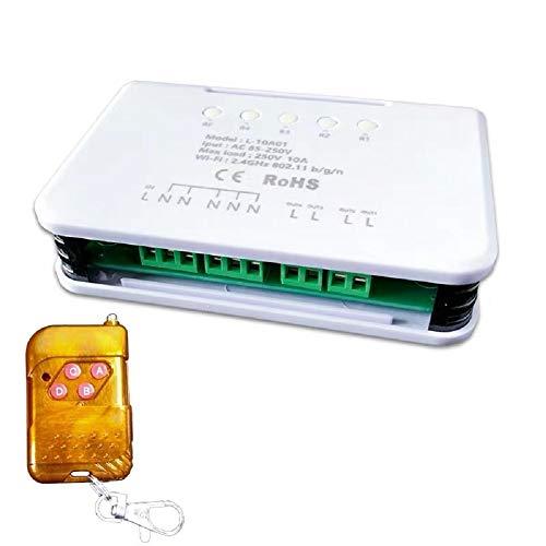 220 V 4 canales WiFi inalámbrico inteligente interruptor módulo de relé para Smart Home, trabajo con Alexa, Google Home Assistant & -IFTTT, aumento Watchdog