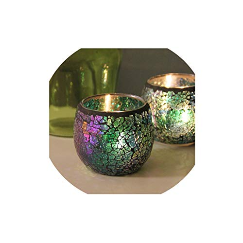 FFFFFF 1 X Handmade Mosaic Candle Holder Romantic Candlelight Dinner Wedding Party Candle Lamp Home Decoration-Pink-1Pc