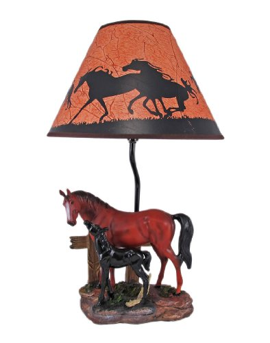 Resin Table Lamps Brown Mare And Foal Horse Table Lamp W/Shade 12 X 19 X 12 Inches Multicolored