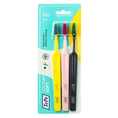 TePe Colour Select Soft 2 + 1 – Set de 3 cepillos de dientes – Cepillo de dientes manual de textura suave – Kit de limpieza dental en colores variados