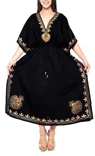 LA LEELA Frauen Damen Rayon Kaftan Tunika Bestickt Kimono freie Größe Lange Maxi Party Kleid für Loungewear Urlaub Nachtwäsche Strand jeden Tag Kleider Schwarz_N718 DE Größe: 42 (L) - 54 (5XL)