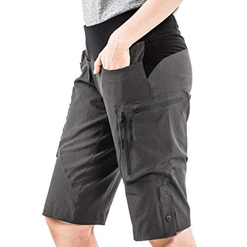 Cycorld MTB Hose Damen Radhose, Schnelltrocknend Mountainbike Hose mit Innenhose und hochwertigem Sitzpolster, Atmungsaktiv MTB Shorts Fahrradhose Damen Outdoor Bike Shorts (2XL,Dunkelgrau) - 4
