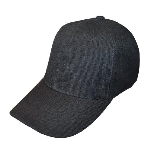 10 casquettes de baseball réglables - Noir uni