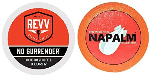 Revv NO SURRENDER & Napalm Coffee DARK Roast Variety Sampler Extra Bold 48 K-Cups for Keurig Brewers